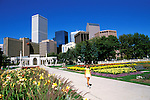 Colorado: Denver, skyline from Civic Center Park, model released. Photo: codenv101   .Photo Copyright: Lee Foster, (510) 549-2202, lee@fostertravel.com, www.fostertravel.com