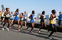 Nederland  rotterdam 2017 04 09. De Marathon van Rotterdam. Lopers op de Erasmusbrug. Kopgroep vrouwen.  Berlinda van Dam / Hollandse Hoogte