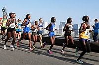 Nederland   Amsterdam  2017 04 09. De Marathon van Rotterdam. Lopers op de Erasmusbrug. Kopgroep vrouwen.  Berlinda van Dam / Hollandse Hoogte