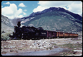 &quot;276-23 The &quot;Silverton&quot; leaving it's namesake valley at the headwaters of the Rio de las Animas.&quot;<br /> D&amp;RGW  Silverton, CO  Taken by Owen, Mac - 6/1975