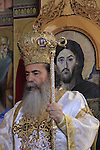 Israel, Capernaum, Greek Orthodox Patriarch Theophilus III at the Church of the Twelve Apostles on the day of St. Petar and St. Paul