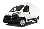 Stock pictures of low aggressive front three quarter view of a 2018 Peugeot Boxer Pro 3 Door Cargo Van