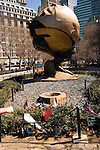 New York City, New York: Sculpture The Sphere by Fritz Koenig, saved from Ground Zero and relocated to Battery Park, symbol of world peace, public grieving site for 9-11 attack.  .Photo #: ny230-14796  .Photo copyright Lee Foster, www.fostertravel.com, lee@fostertravel.com, 510-549-2202.