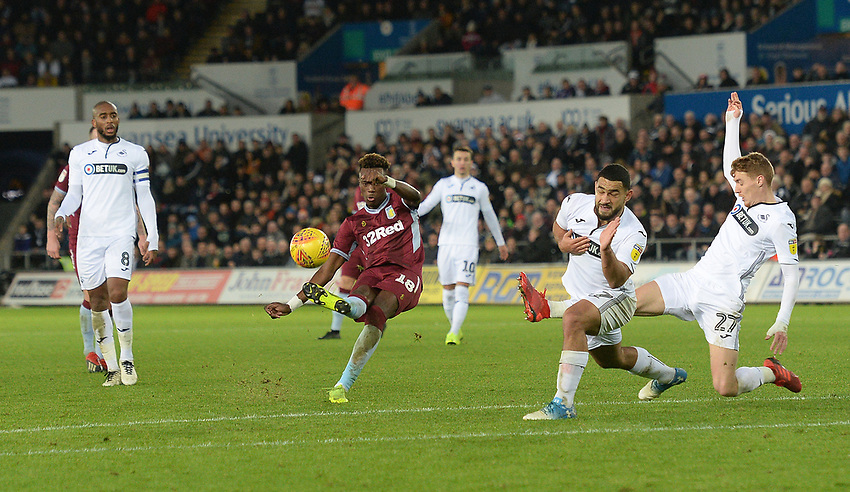 Aston Villa's Tammy Abraham has a shot at goal <br /> <br /> Photographer Ian Cook/CameraSport<br /> <br /> The EFL Sky Bet Championship - Swansea City v Aston Villa - Wednesday 26th December 2018 - Liberty Stadium - Swansea<br /> <br /> World Copyright © 2018 CameraSport. All rights reserved. 43 Linden Ave. Countesthorpe. Leicester. England. LE8 5PG - Tel: +44 (0) 116 277 4147 - admin@camerasport.com - www.camerasport.com