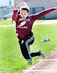 WATERTOWN CT. 16 April 2019-041619SV19-Arlena Rintharamy of Torrington competes in the long jump during a track meet at Watertown High in Watertown Tuesday. Watertown hosted Woodland and Torrington in NVL boys and girls track.<br /> Steven Valenti Republican-American