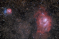 m8 & m20, messier 8 messier 20, lagoon nebula, trifid nebula, emission nebulae