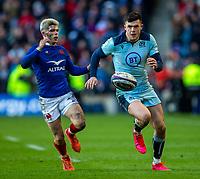8th March 2020; Murrayfield Stadium, Edinburgh, Scotland; International Six Nations Rugby, Scotland versus France; Blair Kinghorn of Scotland chases a loose ball