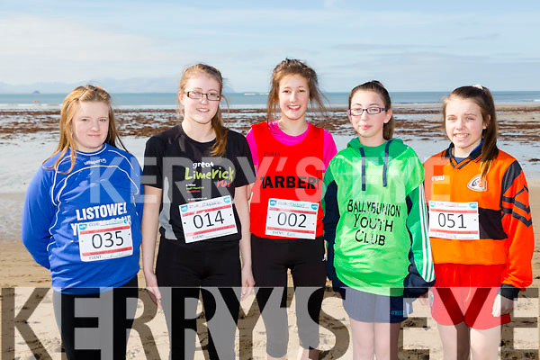 At the North Kerry's KDYS 'fittest Club'  Challenge at Ballyheigue beach  on Saturday were Shannon O'Leary, Listowel,Olivia Twomey, Moyvane, Saha Brent, Tarbert,  Megan Gill, Ballybunion, Brid Horan, Ballyheigue