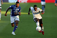 30th July 2020; Craven Cottage, London, England; English Championship Football Playoff Semi Final Second Leg, Fulham versus Cardiff City; Neeskens Kebano of Fulham takes on Leandro Bacuna of Cardiff City