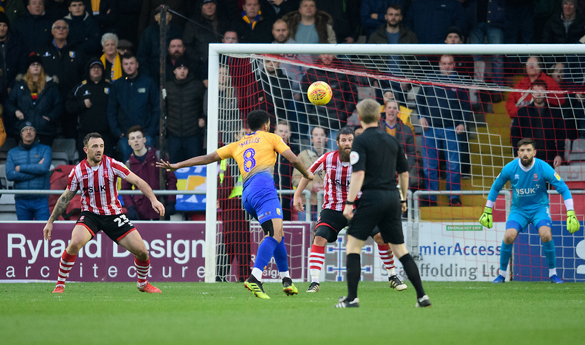 Mansfield Town's Jacob Mellis scores his side's equalising goal to make the score 1-1<br /> <br /> Photographer Chris Vaughan/CameraSport<br /> <br /> The EFL Sky Bet League Two - Lincoln City v Mansfield Town - Saturday 24th November 2018 - Sincil Bank - Lincoln<br /> <br /> World Copyright © 2018 CameraSport. All rights reserved. 43 Linden Ave. Countesthorpe. Leicester. England. LE8 5PG - Tel: +44 (0) 116 277 4147 - admin@camerasport.com - www.camerasport.com