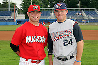 July 3rd 2008:  Twin brothers Scott Gorgen of the Batavia Muckdogs (left) and Matt Gorgen of the Hudson Valley Renegades pose for a photo before a game at Dwyer Stadium in Batavia, NY.  Photo by:  Mike Janes/Four Seam Images