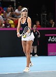 Katie Boulter (Great Britain). Rubber 2. Great Britain v Kazakhstan. World group II play off in the BNP Paribas Fed Cup. Copper Box arena. Queen Elizabeth Olympic Park. Stratford. London. UK. 20/04/2019. ~ MANDATORY Credit Garry Bowden/Sportinpictures - NO UNAUTHORISED USE - 07837 394578