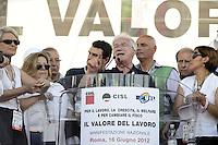 Roma, 16 Giugno 2012.Manifestazione nazionale dei sindacati Cgil, Cisl e Uil contro la riforma del lavoro. Piazza del Popolo. .Raffaele Bonanni segretario Cisl.