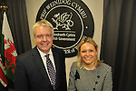 First Minister Carwyn Jones at the Assembley's new briefing room to announce an plans for BT's broadband in Wales. Pic'd with Liv Garfield from BT.