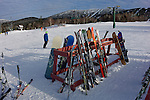 Skiis at the base of Saddleback ski area, Sandy River Plantation, Maine, USA