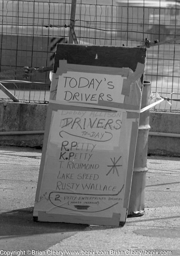 pre season testing sign  Richard Petty Kyle Petty Tim Richmond lake Speed Rusty Wallace Daytona 500 at Daytona International Speedway in Daytona Beach, FL in February 1985. (Photo by Brian Cleary/www.bcpix.com) Daytona 500, Daytona International Speedway, Daytona Beach, FL, February 1985. (Photo by Brian Cleary/www.bcpix.com)