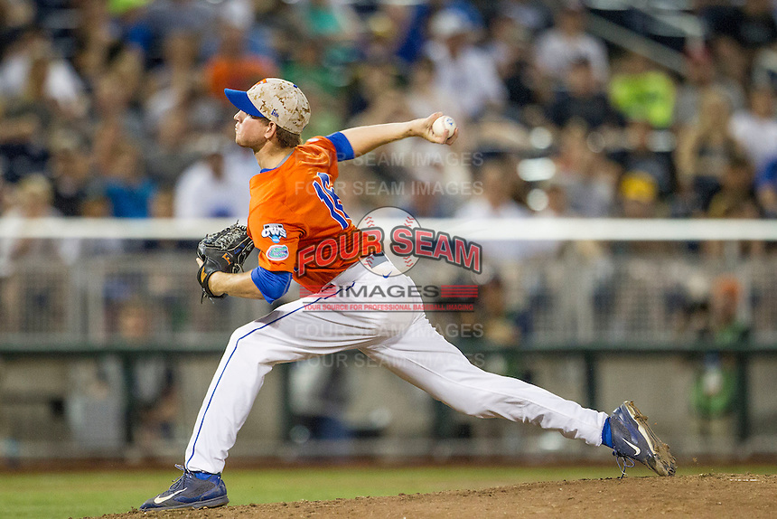 Florida Gators pitcher Taylor Lewis (16) delivers a pitch to the plate against the Virginia Cavaliers in Game 13 of the NCAA College World Series on June 20, 2015 at TD Ameritrade Park in Omaha, Nebraska. The Cavaliers beat the Gators 5-4. (Andrew Woolley/Four Seam Images)