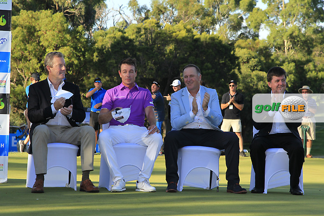 Brett Rumford (AUS) winner during the presentation ceremony of the ISPS Handa World Super 6 Perth on Sunday 19th February 2017.<br /> Picture:  Thos Caffrey / Golffile<br /> <br /> All photo usage must carry mandatory copyright credit     (&copy; Golffile | Thos Caffrey)