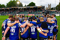 The Bath Rugby team huddle together after the match. Gallagher Premiership match, between Bath Rugby and Gloucester Rugby on September 8, 2018 at the Recreation Ground in Bath, England. Photo by: Patrick Khachfe / Onside Images