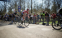 Stig Broeckx (BEL/Lotto-Soudal) leaving sector 18: Trou&eacute;e d'Arenberg - Wallers Forest (2.4km)<br /> <br /> 113th Paris-Roubaix 2015