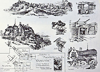 Sketches at Manchester by the Sea, Kragsyde, summer residence of G. Nixon Black, Esq., 1882. Shingle Style cottage designed by Peabody and Stearns, and landscaped by Frederick Law Olmstead.