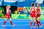 Giselle Ansley #18 of Great Britain, Crista Cullen #5 of Great Britain and Hollie Webb #20 of Great Britain celebrate a goal during India vs Great Britain in a Pool B game at the Rio 2016 Olympics at the Olympic Hockey Centre in Rio de Janeiro, Brazil.