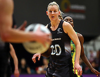 17.09.2016 Silver Ferns Katrina Grant in action during the Taini Jamison netball match between the Silver Ferns and Jamaica played at the Energy Events Centre in Rotorua. Mandatory Photo Credit ©Michael Bradley.