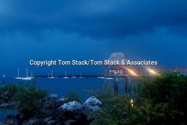 A long exposure of a stormy, pre-dawn morning over the Atlantic Ocean in Key Largo, Florida