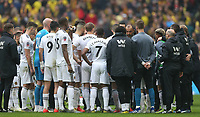 Wolverhampton Wanderers manager Nuno Espirito Santo gives a team talk prior to extra time<br /> <br /> Photographer Rob Newell/CameraSport<br /> <br /> Emirates FA Cup Semi-Final  - Watford v Wolverhampton Wanderers - Sunday 7th April 2019 - Wembley Stadium - London<br />  <br /> World Copyright © 2019 CameraSport. All rights reserved. 43 Linden Ave. Countesthorpe. Leicester. England. LE8 5PG - Tel: +44 (0) 116 277 4147 - admin@camerasport.com - www.camerasport.com
