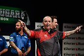 "11th January 2018, Brisbane Royal International Convention Centre, Brisbane, Australia; Pro Darts Showdown Series; Phil ""The Poer""Taylor celebrates his 7-0 Quarter Final Win against Rhys Mathewson (AUS)"