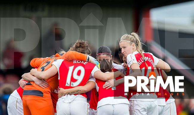 Arsenal Ladies pre match team huddle during the FAWSL match between Arsenal Ladies and Chelsea Ladies at Meadow Park, Borehamwood, England on 21 April 2016. Photo by Andy Rowland.