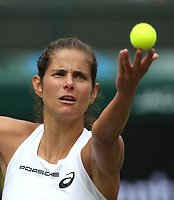 Julia Goerges (GER) during her victory against Kiki Bertens (NED) in their Ladies' Quarter Final match<br /> <br /> Photographer Rob Newell/CameraSport<br /> <br /> Wimbledon Lawn Tennis Championships - Day 8 - Tuesday 10th July 2018 -  All England Lawn Tennis and Croquet Club - Wimbledon - London - England<br /> <br /> World Copyright &not;&copy; 2017 CameraSport. All rights reserved. 43 Linden Ave. Countesthorpe. Leicester. England. LE8 5PG - Tel: +44 (0) 116 277 4147 - admin@camerasport.com - www.camerasport.com