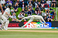 James Vince of England drops a catch  off Tom Latham of the Black Caps during Day 4 of the Second International Cricket Test match, New Zealand V England, Hagley Oval, Christchurch, New Zealand, 2nd April 2018.Copyright photo: John Davidson / www.photosport.nz