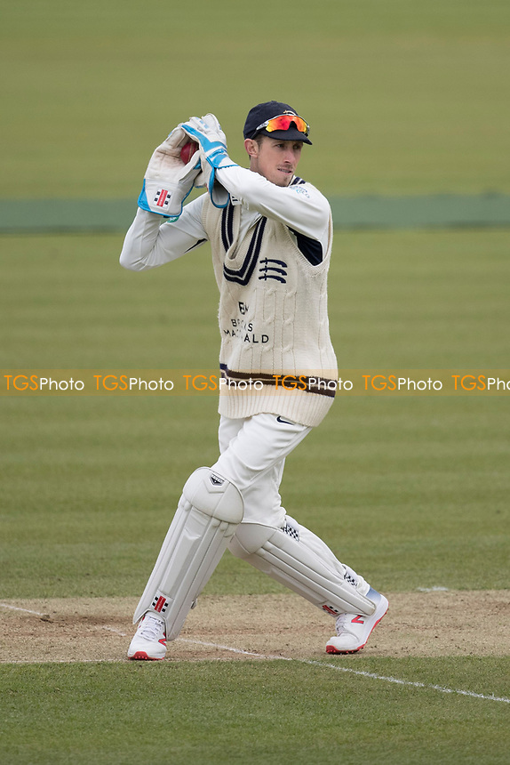 John Simpson of Middlesex CCC takes the throw during Middlesex CCC vs Lancashire CCC, Specsavers County Championship Division 2 Cricket at Lord's Cricket Ground on 12th April 2019