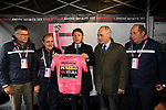 The Prime Minister Giuseppe Conte paid a visit to the Corsa Rosa today pictured holding the Maglia Rosa with Paolo Bellino CEO of RCS Sport and Mauro Vegni Director of the Giro d'Italia at sign on before Stage 5 of the 2019 Giro d'Italia, running 140km from Frascati to Terracina, Italy. 15th May 2019<br /> Picture: Gian Mattia D'Alberto/LaPresse | Cyclefile<br /> <br /> All photos usage must carry mandatory copyright credit (© Cyclefile | Gian Mattia D'Alberto/LaPresse)