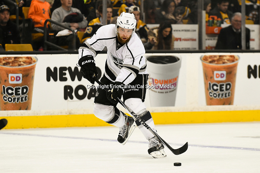 January 31, 2015 - Boston, Massachusetts, U.S. - Los Angeles Kings defenseman Jake Muzzin (6) in game action during the third period of the NHL game between the Los Angeles Kings and the Boston Bruins held at TD Garden in Boston Massachusetts. Boston defeated the Kings 3-1 in regulation time. Eric Canha/CSM