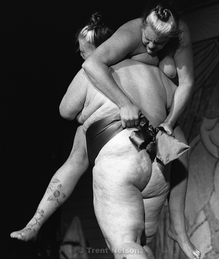 Female sumo wrestling during the Jim Rose Circus at Brick's.