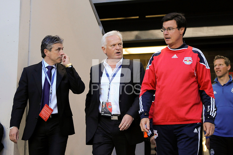 New York Red Bulls head coach Hans Backe (C) talks with general manager and sporting director Erik Soler (L) and assistant coach Goral Aral (R) before the game. The Seattle Sounders defeated the New York Red Bulls 1-0 during a Major League Soccer (MLS) match at Red Bull Arena in Harrison, NJ, on May 15, 2010.
