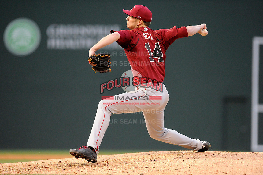 Starting pitcher Evan Beal (14) of the South Carolina Gamecocks in a game against the Furman Paladins on Tuesday, April 8, 2014, at Fluor Field at the West End in Greenville, South Carolina. (Tom Priddy/Four Seam Images)