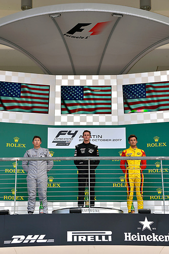 F4 US Championship<br /> Rounds 19-20<br /> Circuit of The Americas, Austin, TX USA<br /> Sunday 22 October 2017<br /> Kyle Kirkwood (Winner), Dakota Dickerson (second) and Skylar Robinson (third) on the podium after round 20<br /> World Copyright: Gavin Baker<br /> LAT Images