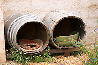 Domaine de la Garance. Pezenas region. Languedoc. Wine barrels made into a dog house. France. Europe.