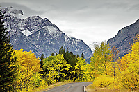 Autumn drive to Two Medicine Lake in Glacier National Park