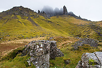 Old Man of Storr in clouds, Isle of Skye, Scotland