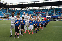 San Jose, CA - Tuesday June 11, 2019: National Anthem before the US Open Cup match between the San Jose Earthquakes and Sacramento Republic FC at Avaya Stadium.