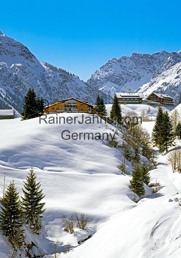 Oesterreich, Kleinwalsertal, Winterlandschaft bei Mittelberg vor Allgaeuer Alpen   Austria,  Kleinwalsertal, Winter Scenery near Mittelberg and Allgaeuer Alps