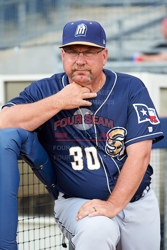 San Antonio Missions manager Phillip Wellman (30) before a game against the Tulsa Drillers on June 1, 2017 at ONEOK Field in Tulsa, Oklahoma.  Tulsa defeated San Antonio 5-4 in eleven innings.  (Mike Janes/Four Seam Images)