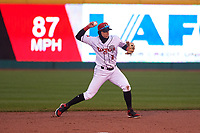 Lansing Lugnuts second baseman Nick Podkul (3) throws to first base during a Midwest League game against the Wisconsin Timber Rattlers at Cooley Law School Stadium on May 2, 2019 in Lansing, Michigan. Lansing defeated Wisconsin 10-4. (Zachary Lucy/Four Seam Images)