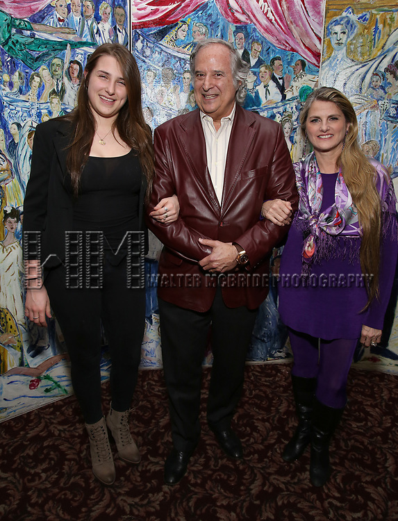 Leah Lane, Stewart F. Lane and Bonnie Comley attends the UMass Lowel Cockail Party for 'Sunset Boulevard' hosted by Chancellor Jacquie Moloney, Bonnie Comley and Stewart F. Lane at Sardi's on April 5, 2017 in New York City