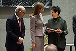 Queen Letizia of Spain, Finance Minister Cristobal Montoro and Mitsuo Miura's wife  during the delivery of the XXVII Edition of Tomas Francisco Prieto Award to Japanese artist Mitsuo Miura in Madrid, Spain. January 20, 2017. (ALTERPHOTOS/BorjaB.Hojas)