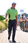 30 August 2009: Padraig Harrington of Ireland heads to the driving range before his final round in The Barclays PGA Playoffs at Liberty National Golf Course in Jersey City, New Jersey.